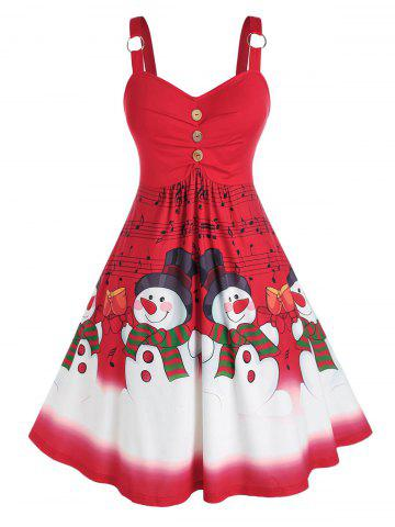 Plus Size Christmas Snowman Musical Notes Ring Ruched Dress
