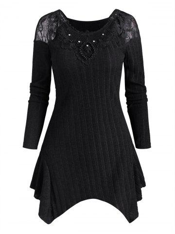 Lace Panel Beaded Rhinestone Ribbed Knitwear - BLACK - XXL