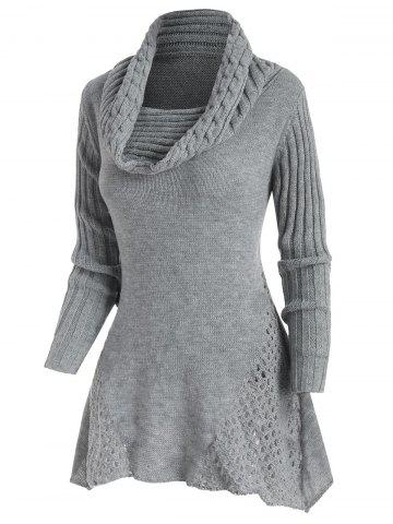 Mock Button Cowl Neck Openwork Sweater - GRAY - XXL