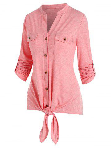 Double Pockets Knot Front Heathered T-shirt - PINK - M