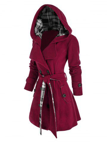 Plus Size Hooded Double Breasted Plaid Coat - RED WINE - L