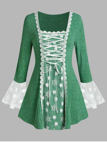Plus Size Lace-up Flare Sleeve Floral Applique Lace Tunic Sweater - GREEN - 1X