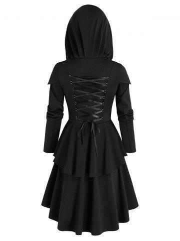 Hooded Lace-up layered High Low Skirted Coat - BLACK - XL