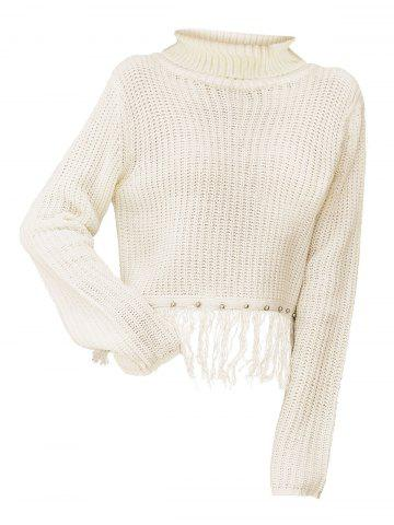 Fringed Turtleneck Chunky Knit Sweater - WHITE - L