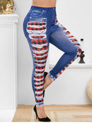 Plus Size Plaid 3D Ripped Jean Print Skinny Jeggings -