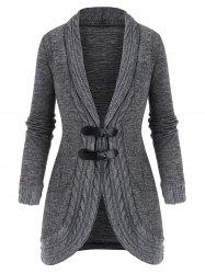 Buckled Shawl Collar Cable Knit Cardigan -