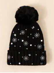 Snowflake Rhinestone Knitted Plush Bubble Hat -