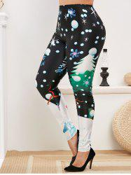 Christmas Snowman Snowflake Print Plus Size Leggings -
