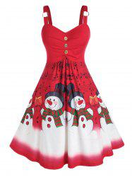 Plus Size Christmas Snowman Musical Notes Ring Ruched Dress -