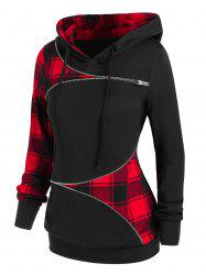 Zippered Plaid Hoodie -