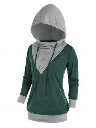 Plus Size Buttoned Two Tone Blouson Tunic Hoodie -