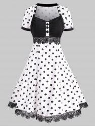 Polka Dot Lace Trim Buttoned Vintage Dress -
