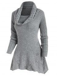 Mock Button Cowl Neck Openwork Sweater -