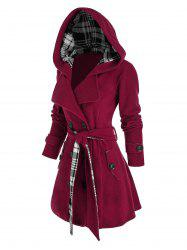 Plus Size Hooded Double Breasted Plaid Coat -