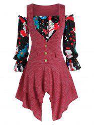 Plus Size Christmas Claus Top and Handkerchief Tank Top Set -