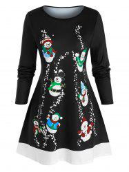Plus Size Christmas Funny Snowman A Line Tunic Tee -