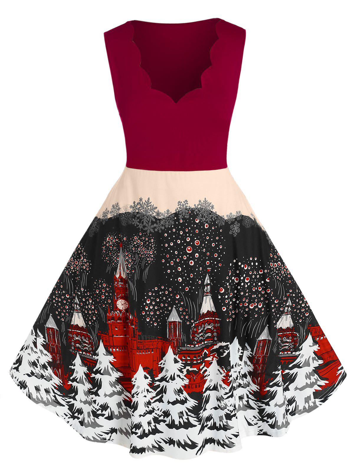 Affordable Plus Size Scalloped Christmas Tree Print Dress