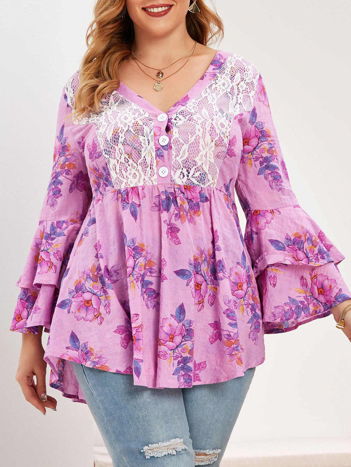 Best Plus Size Flower Lace Panel Layered Flare Sleeve Blouse