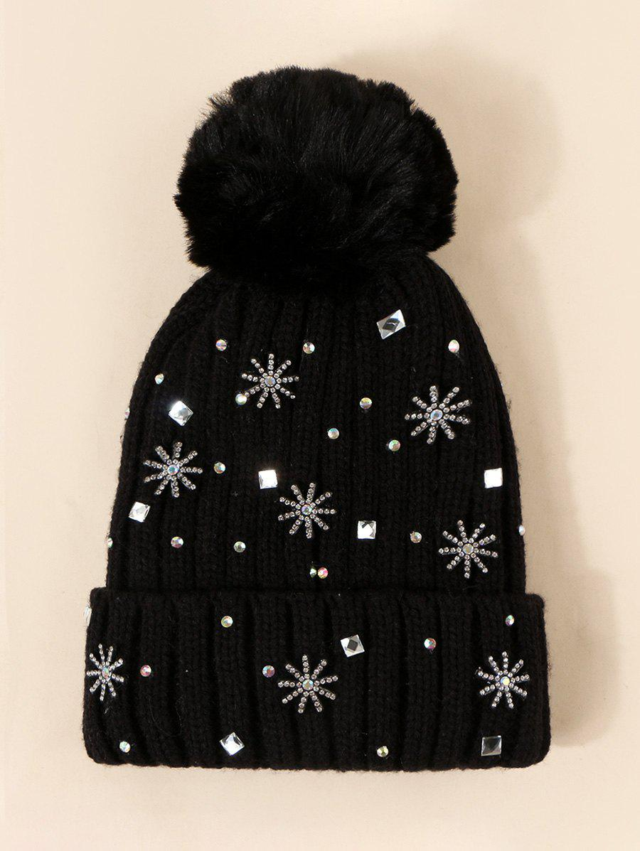 Hot Snowflake Rhinestone Knitted Plush Bubble Hat