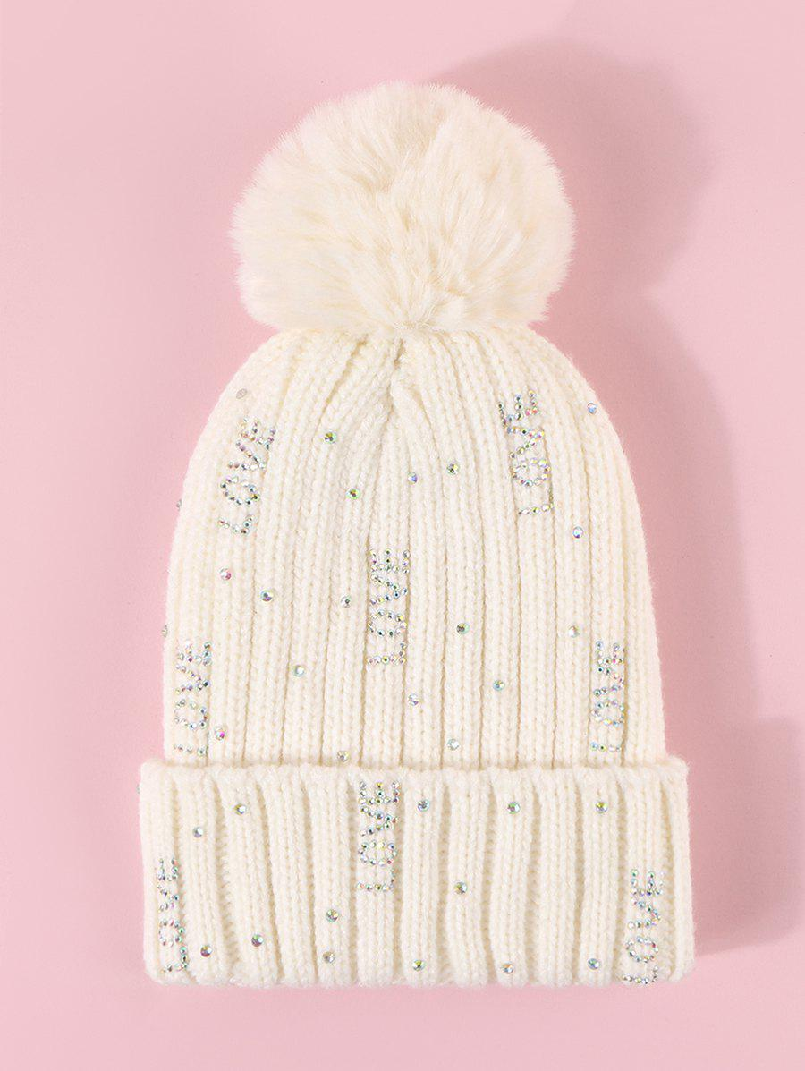 Trendy Rhinestone Letter Plush Knitted Bubble Hat