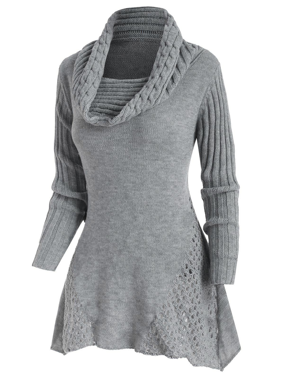 New Mock Button Cowl Neck Openwork Sweater