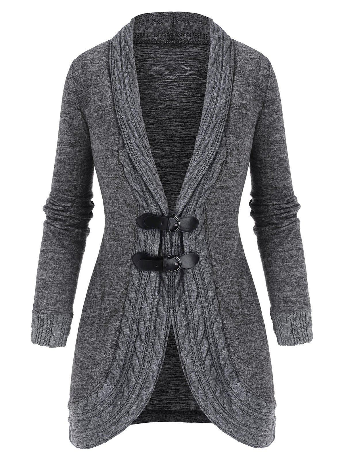 Sale Buckled Shawl Collar Cable Knit Cardigan
