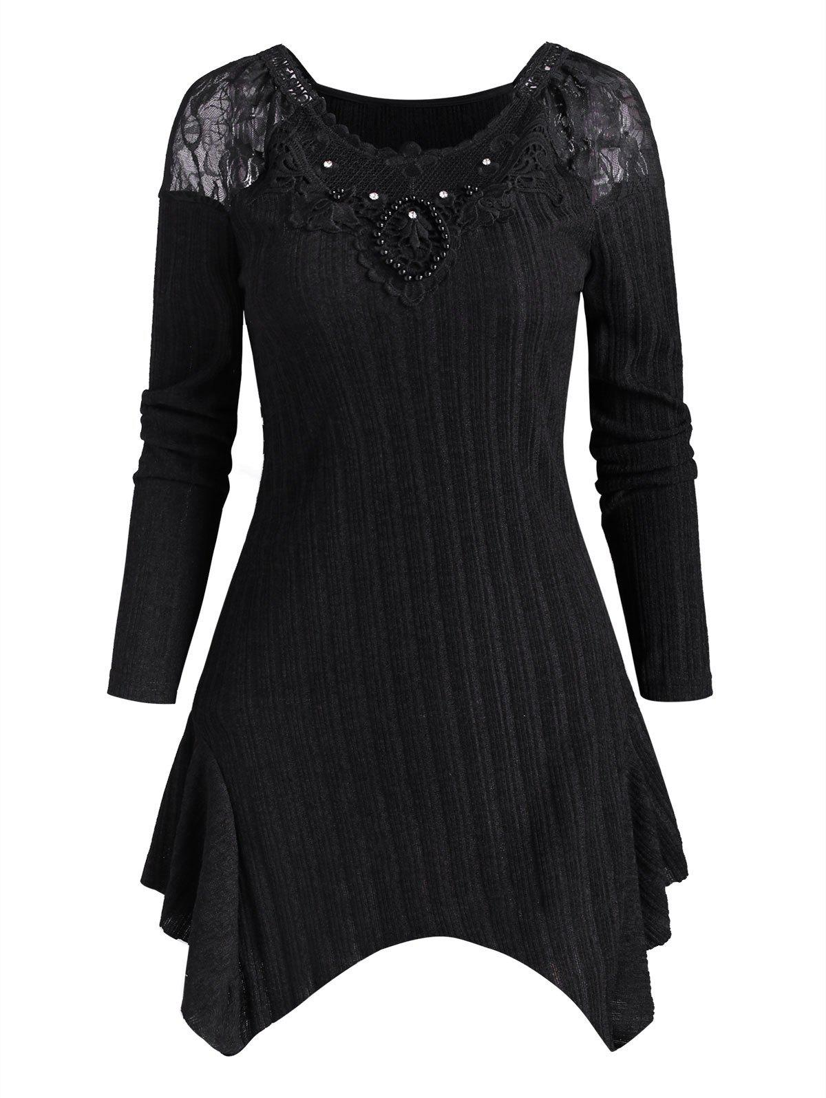 Unique Lace Panel Beaded Rhinestone Ribbed Knitwear