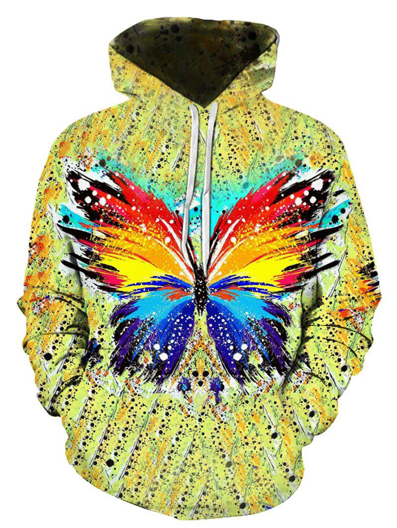 Fashion Colorful Butterfly Printed Kangaroo Pocket Hoodie