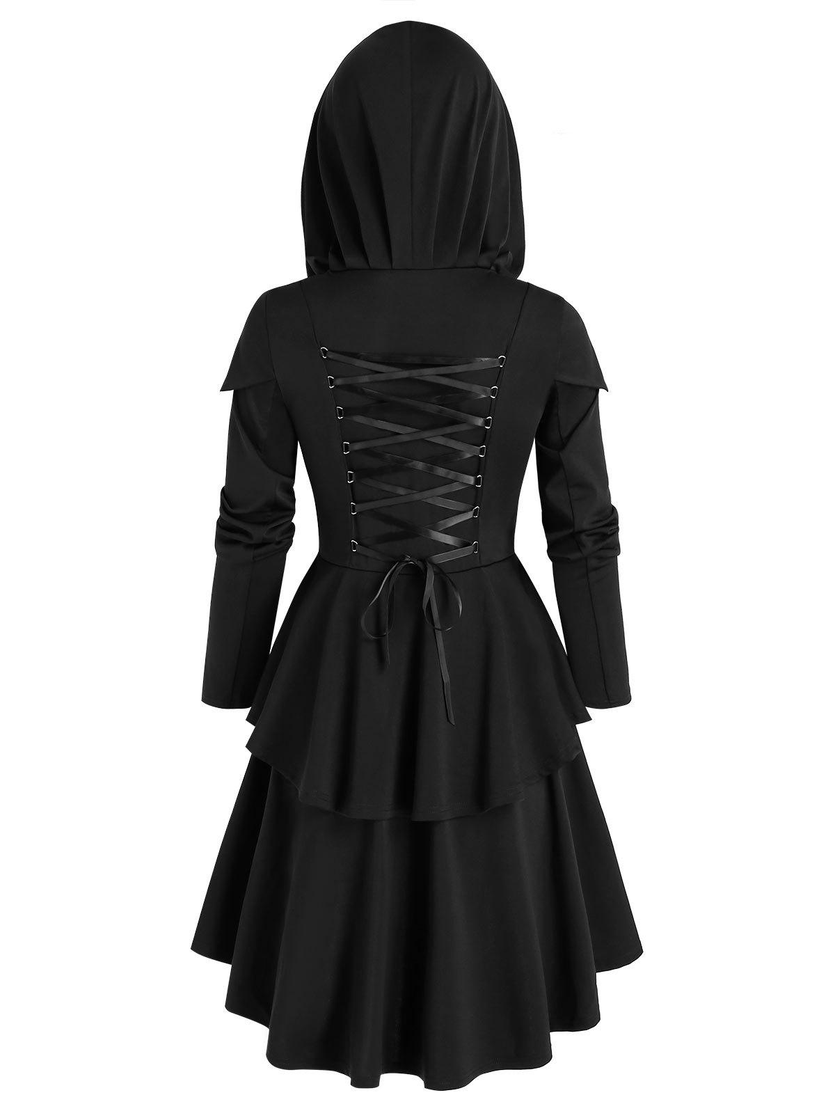 Unique Hooded Lace-up layered High Low Skirted Coat