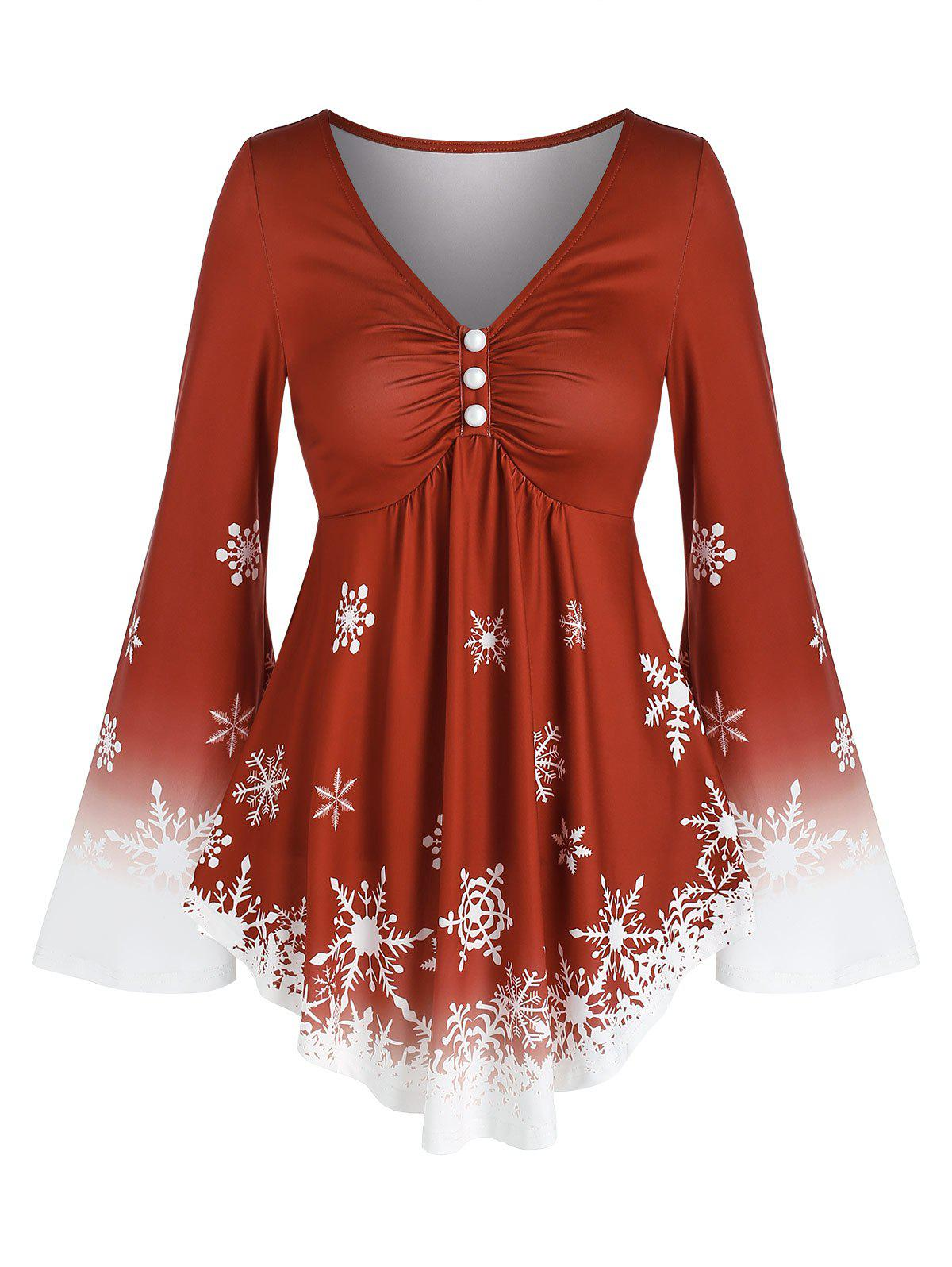 Chic Buttons Snowflake Printed V Neck T Shirt