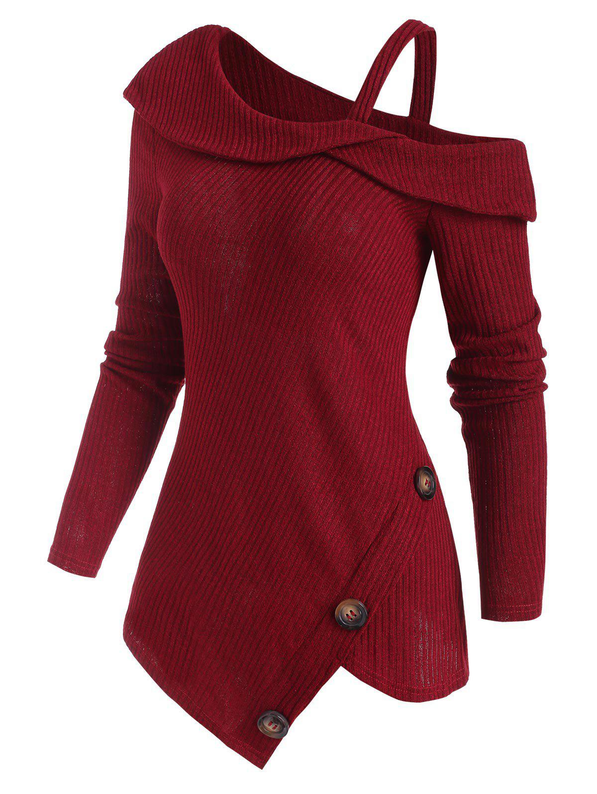 Hot Ribbed Buttoned Open Shoulder Asymmetrical Knitwear