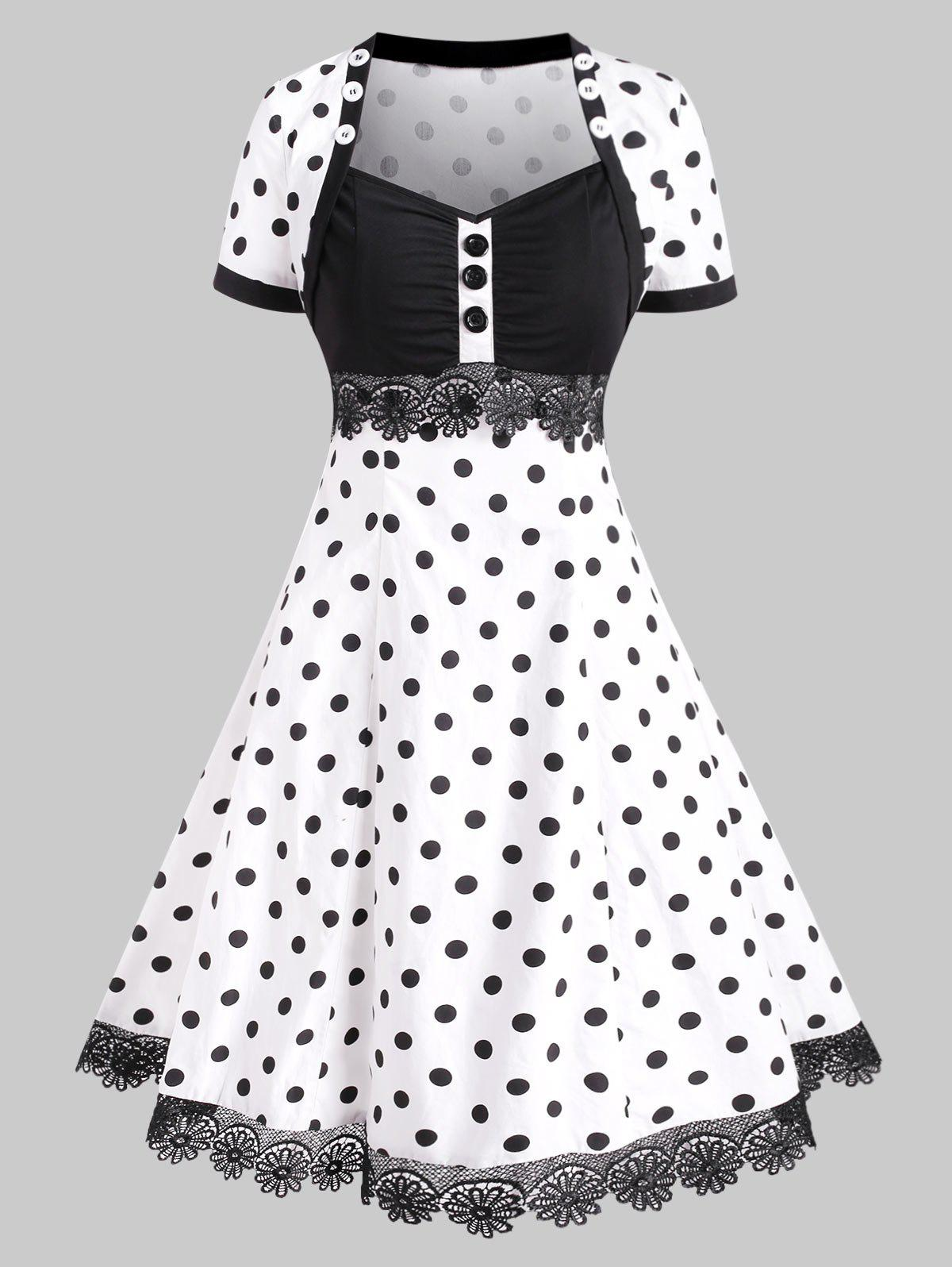 Best Polka Dot Lace Trim Buttoned Vintage Dress
