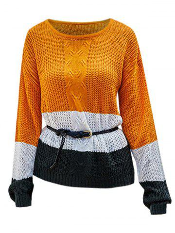 Slit Colorblock High Low Textured Sweater