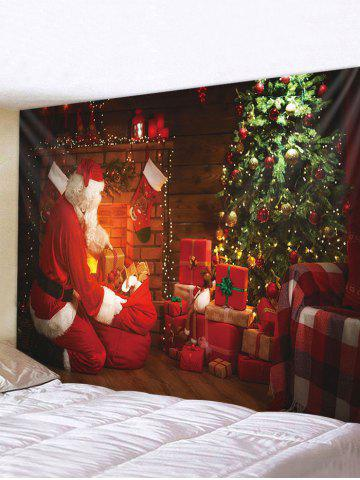 Christmas Santa Claus Gifts Print Wall Tapestry - MULTI - W91 X L71 INCH