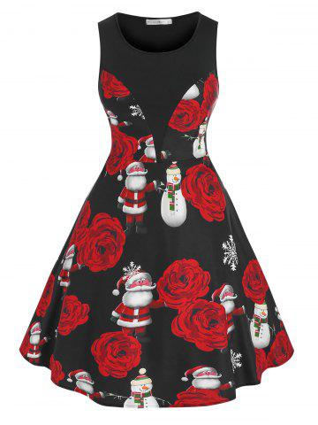 Plus Size Christmas Claus Snowflake Fit and Flare Dress - BLACK - 3X