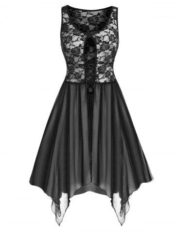 Plus Size Lace Mesh Slit Sheer Handkerchief Lingerie Dress - BLACK - 1X