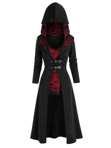 Halloween Buckles Long Coat and Skull Lace Tank Top Set - BLACK - 2XL