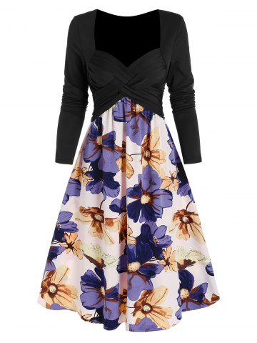 Criss Cross High Waist Floral Print Dress
