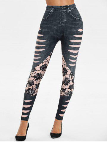 High Rise 3D Ripped Jean Print Jeggings - BLACK - 2XL