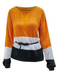 Slit Colorblock High Low Textured Sweater -