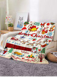 Christmas Cartoon Santa Print Flannel Blanket -