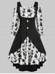 Off The Shoulder Halloween Cat Print Dress and Buckles Top Set -