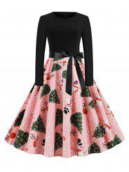 Snowman Elk Dotted Christmas Tree Belted Dress -