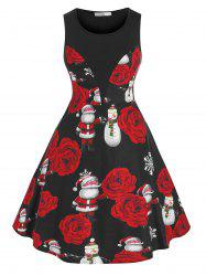 Plus Size Christmas Claus Snowflake Fit and Flare Dress -