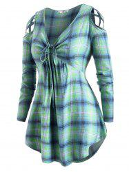 Plaid Cinched Front Strappy Cold Shoulder Plus Size Top -