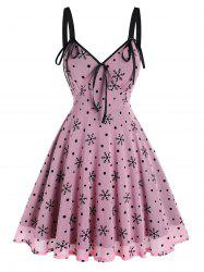 Christmas Snowflake Print Bowknot Mesh Dress -