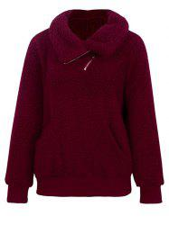 Plus Size Pockets Half Zipper Teddy Sweatshirt -