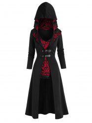 Halloween Buckles Long Coat and Skull Lace Tank Top Set -