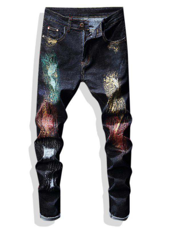 Colorful Paint Glitter Embroidered Ripped Jeans