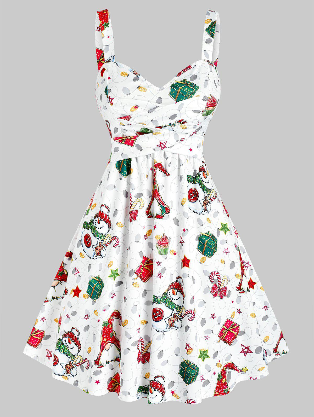 Outfits Christmas Santa Snowman Gifts Print Crossover Sleeveless Dress